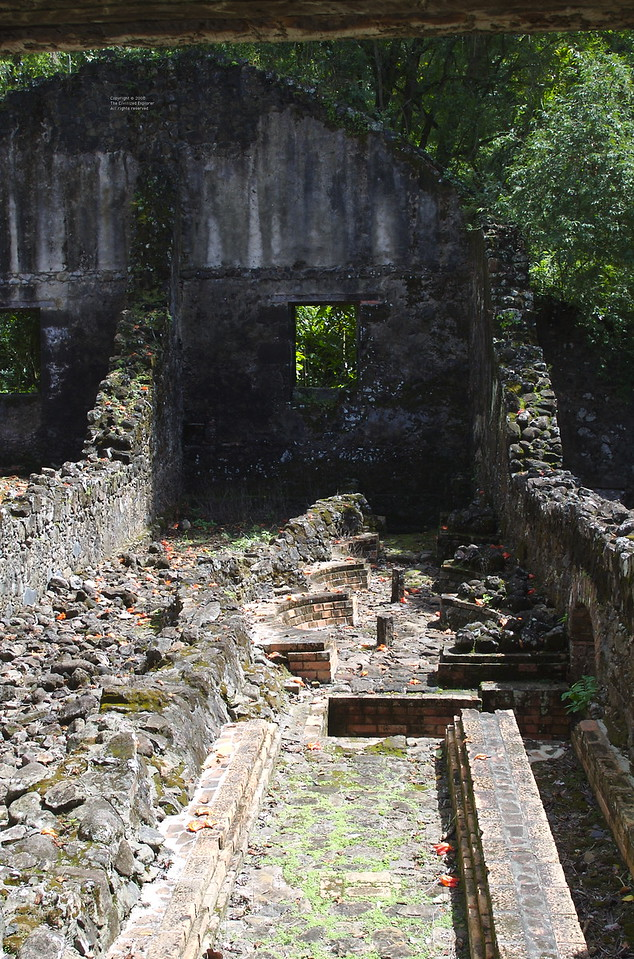 These are the ruins of the sugar refinery. Near the center of the photo are the round brick settings where the hemispherical tubs of sugar water were located for boiling off the water.