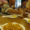 Super Eight's Texas-Shaped waffles for breakfast! Yay!<br /> <br /> My uncle is having some liquid egg product scrambled egg. Not so yay. (I couldn't finish mine. That says a lot, bc I finish EVERYTHING on my plate - unless it's absolutely disgusting.)