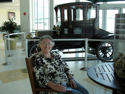 Gill admiring the 1908 Cardillac car at Fort Myers Airport on our way to Charlston.