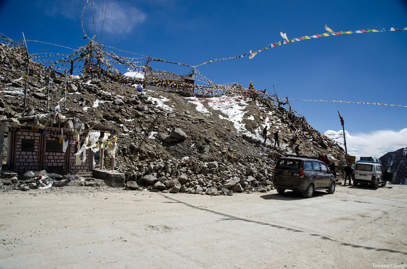 Khardung La pass. One of the many, and definitely not the highest, no matter what the signboard says