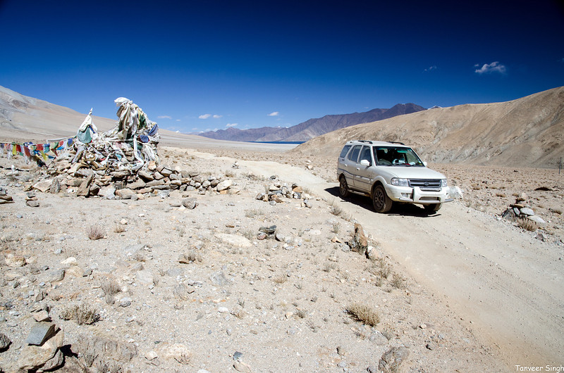 Over the hill, we bid goodbye to Pangong for now