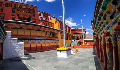A (slightly distorted) view of the compact entrance area at Thiksey Gompa (Monastery)