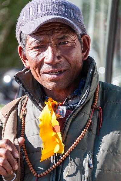 A local man awaits the doctor at Stongdey Gompa, Zanskar