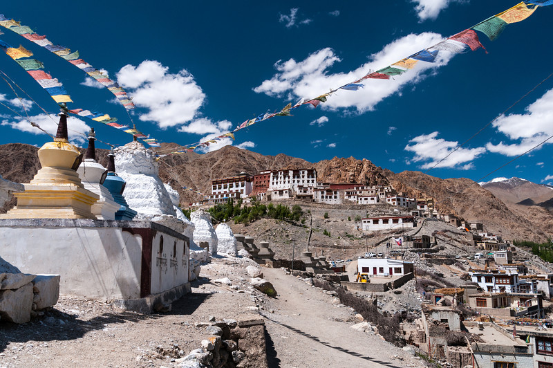 Stupas stand outside Phyang Gompa, Ladakh