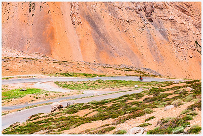 Cyclist on the Gata Loops (Along Manali-Leh Highway)