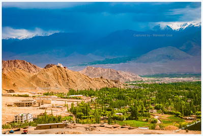 Monsoon Clouds Hovering Near Leh City in the Evening