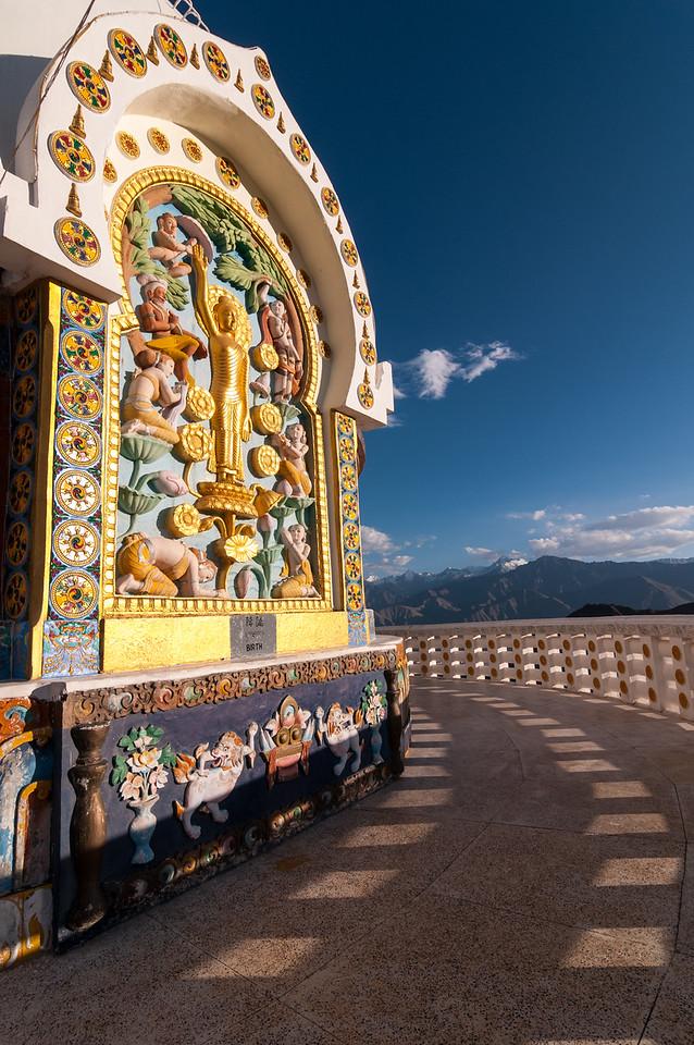 Ornate mouldings surround the 'Birth' Buddha at Leh's Japanese Shanti Stupa