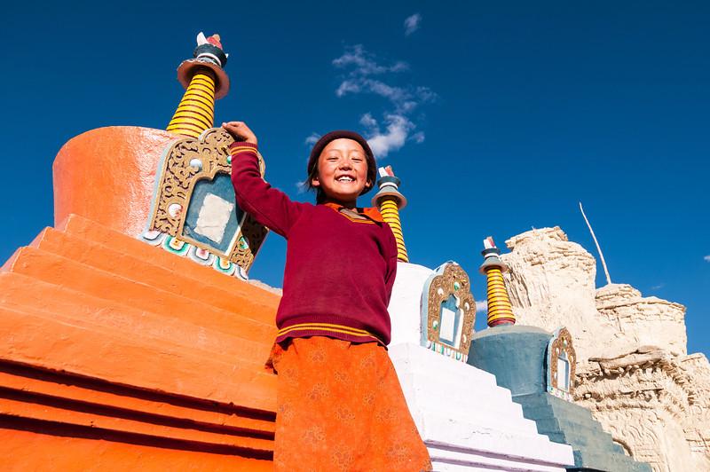 Big smiles at Stongdey Gompa, Zanskar