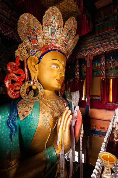 Thiksey Gompa's Chamkang houses the 12m high Maitreya (future Buddha)