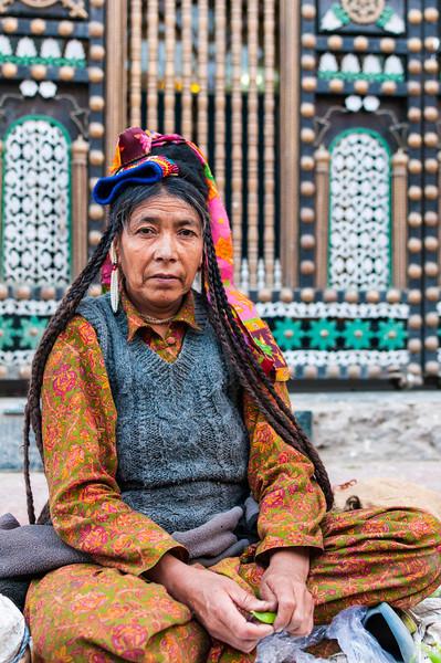 Tashi Tsomo. Last Aryan of the Indus Valley, sells fruit and veg on a Leh street