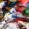 Amongst the prayer flags at Spitok Gompa