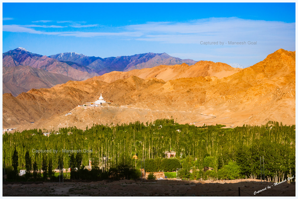 Shanti Stupa from a Distance + Colourful Mountains