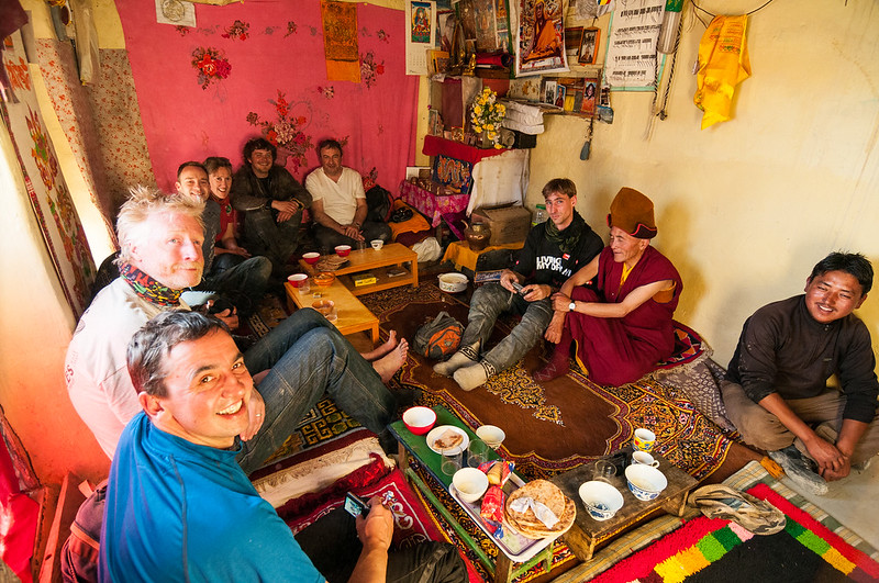 Tea with the Rimpoche at Stongdey Gompa, Zanskar (L-R: Graham, Geoff, Andy, Di, Peter, Andrew, Vince, the Rimpoche and the taxi driver)