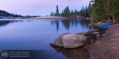 Lake Alpine Morning Twilight - Super-HD Panorama. Cropped 1:2 copy. (Original dimensions = 12,353 x 5061 pixels/300dpi). Created from 7 vertical exposures digitally stitched and blended.  2.5 sec at f/8.0, ISO 50, 50mm.