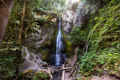 Marymere Falls, which feeds into Barnes Creek