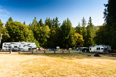 Log Cabin Resort campground, viewed from the lakeshore