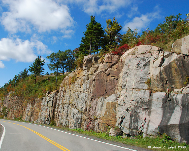 Rock ledge along the road to the summit