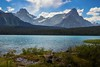 Mount Chephren, to the right, backdrops Lower Waterfowl Lake and rises 1600 meters above it.