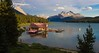 """Maligne Lake Boathouse at sunset. The culture in the Jasper area, even downtown, was worlds away from Banff. Far more laid back, less touristy, much less crowded with a """"Nature First"""" hometown-friendly feel. Banff was fun but rather hectic, overcrowded and more commercial with 5 to 10 times more tourists."""