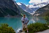 Jan's photo of me beside Lake Louise.