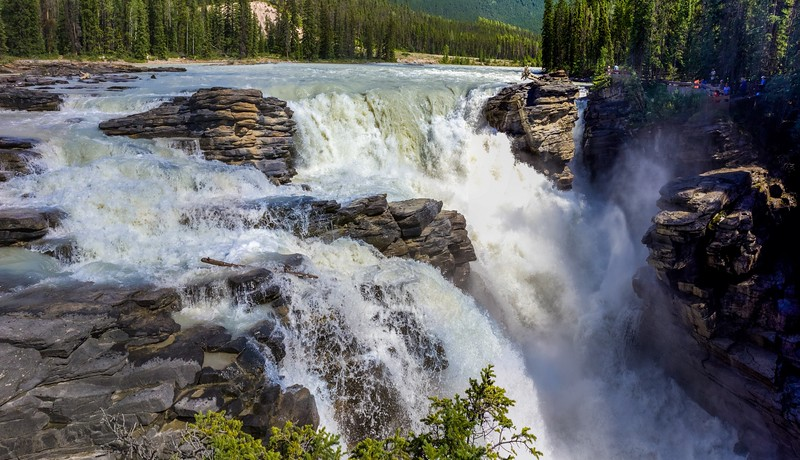 Sunwapta Falls, the largest waterfall in Canada in terms of flow.