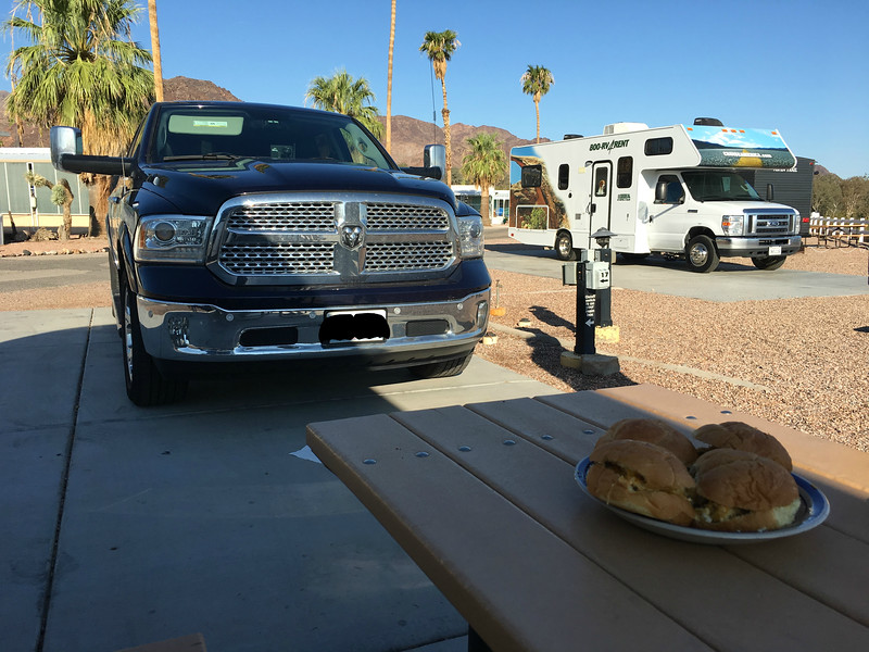 Ready to have breakfast with friends who rented the other RV