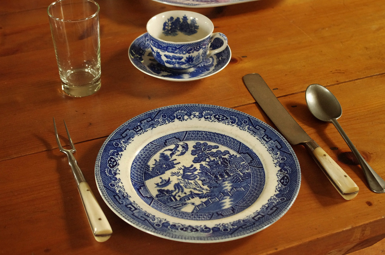 Officer's China, Dining room in the Great Hall at Grand Portage National Monument, Minnesota.