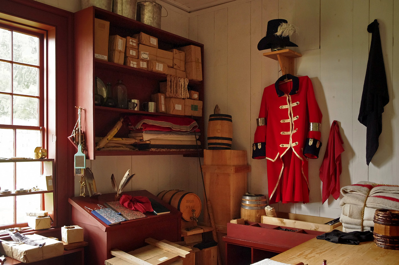 Stores and officer's coat, Great Hall, Grand Portage National Monument, Minnesota.