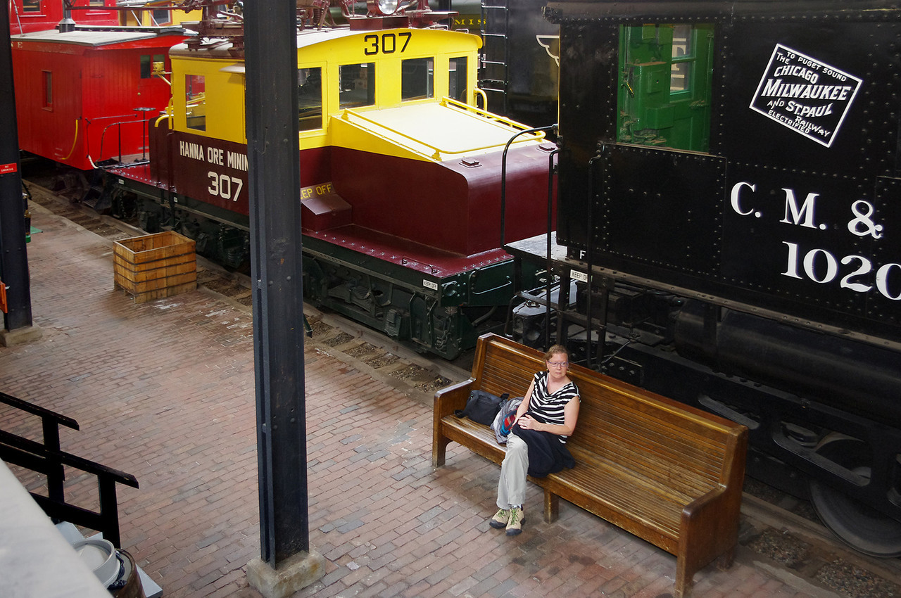 Rita in the the Lake Superior Railroad Museum, at the Duluth (Minnesota) Union Depot.
