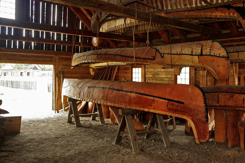 Canoe shed, Fort William Historical Park, Ontario. Birchbark canoes are constructed at the park, using traditional methods and materials.