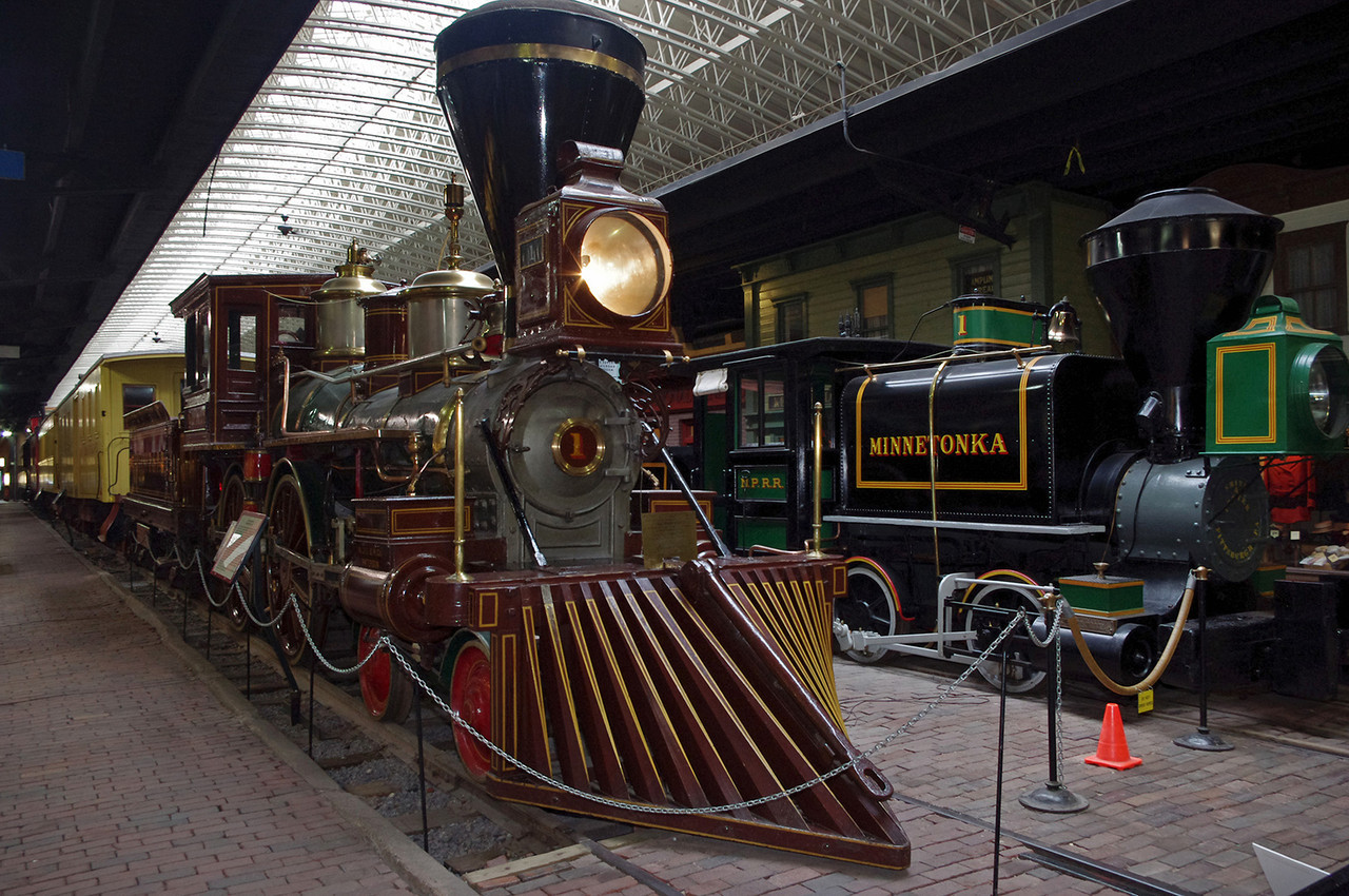 Locomotive train engines on display at  the Lake Superior Railroad Museum in the Duluth (Minnesota) Union Depot.