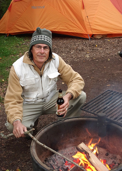 Gary tending the fire in our campsite at the Temperance River State Park on the north shore of Lake Superior, Minnesota.