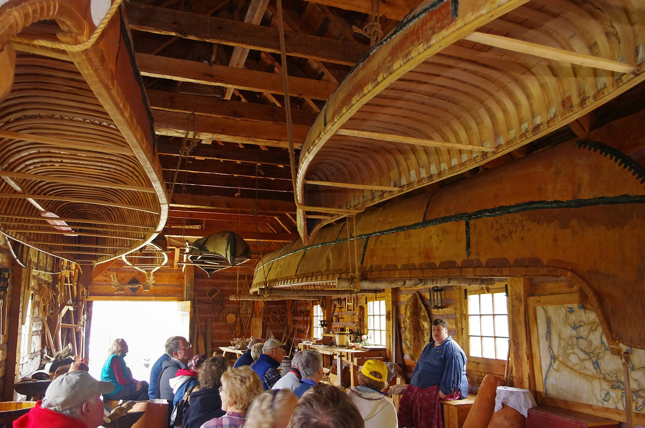 Group lecture in the canoe house, Grand Portage National Monument, Minnesota.