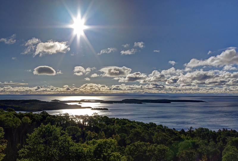 Low morning sun over small islands, north shore of Lake Superior, Minnesorta.