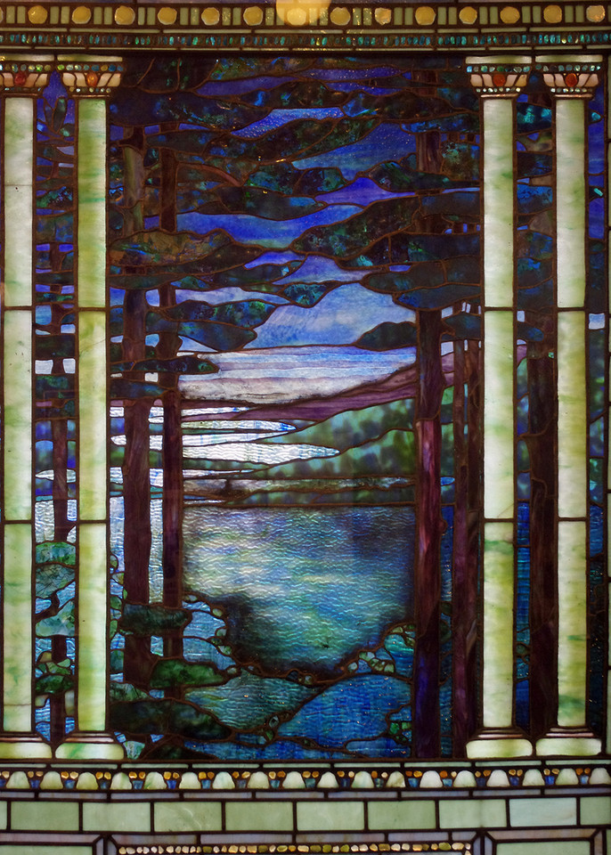 Tiffany stained glass window in the Duluth (Minnesota) Union Depot, depicts an early view from Duluth's Park Point. Commissioned in about 1895.