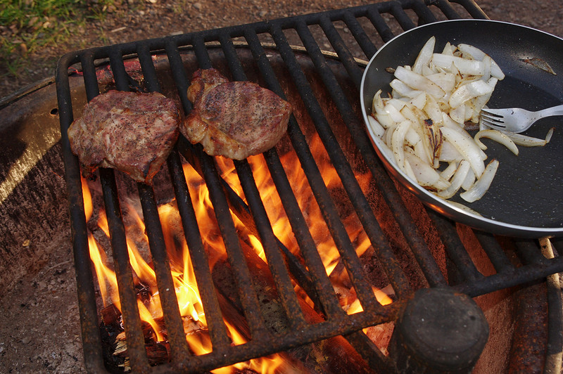 Steaks are almost done; walk-in tent site in Tettegouche State Park (Minnesota).