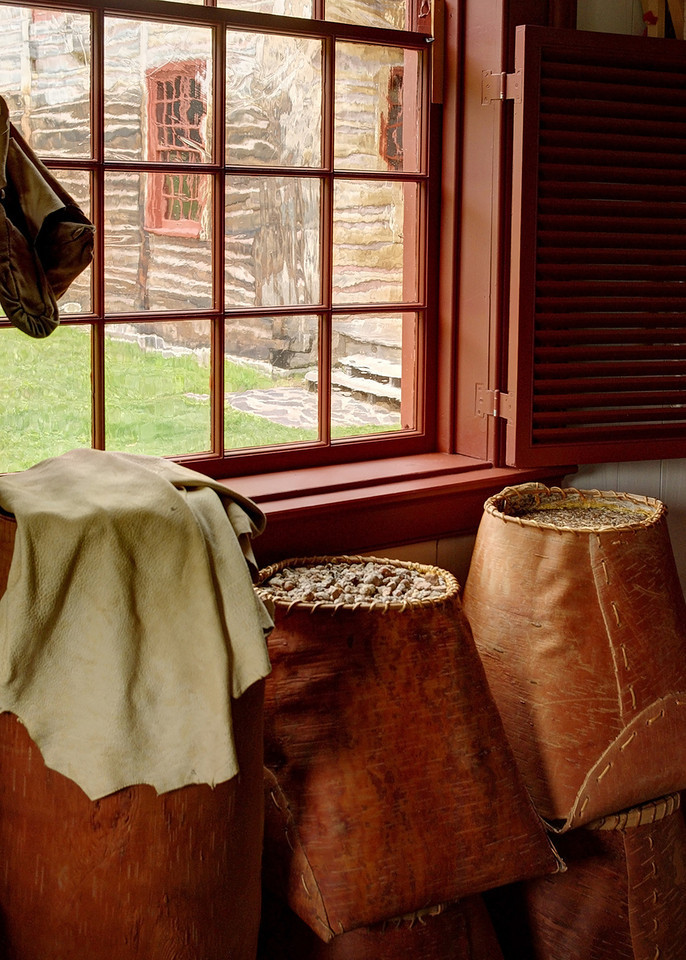 Grain in birchbark baskets; Grand Portage National Monument, Minnesota.
