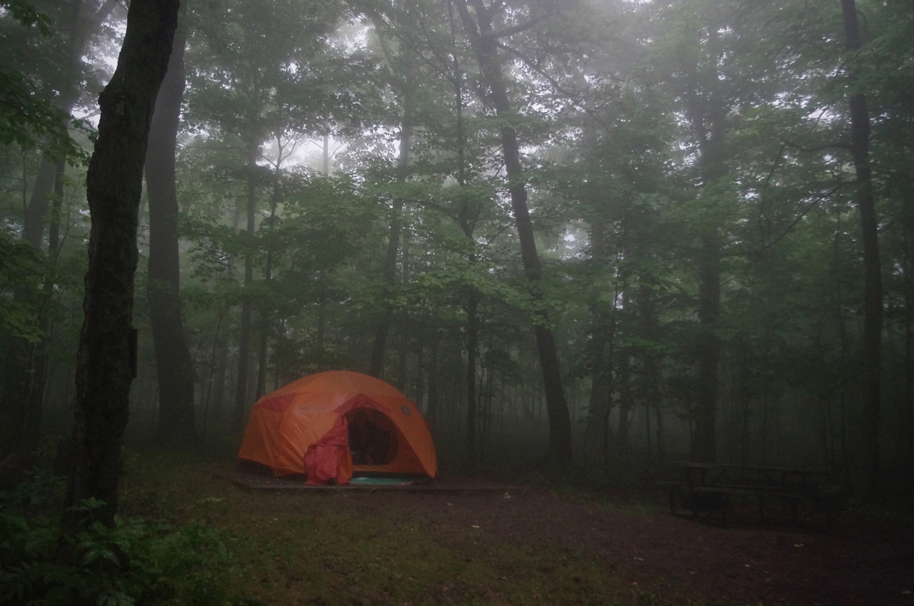 Our foggy, soggy camp for two days on Spirit Mountain, near Duluth, Minnesota. There are supposed to be great views of the city from the mountain, but we never saw any.
