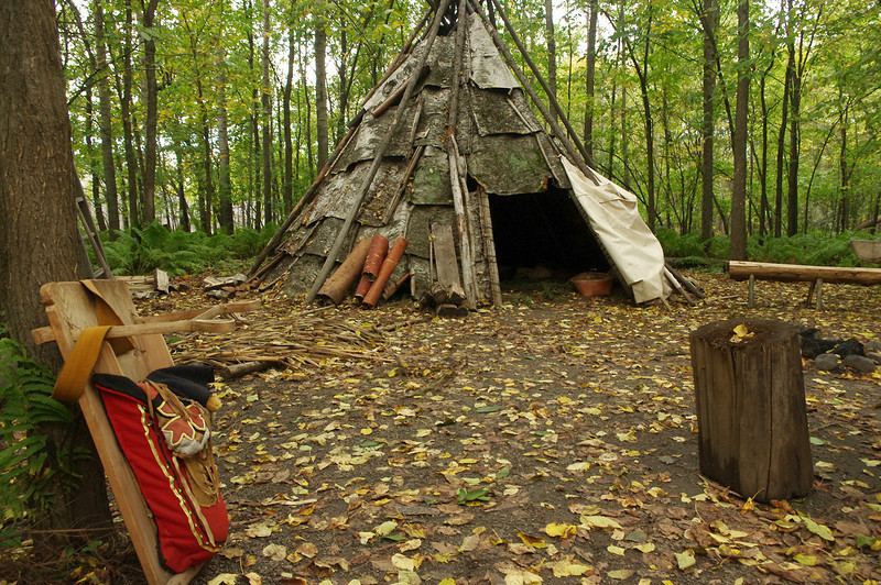 Ojibwa encampment at Fort William Historical Park on the Kaministiquia River in Ontario.