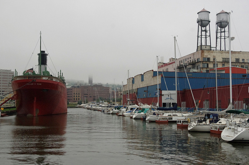 Boats in the Duluth (Minnesota) harbor, Canal Park area. The William Irvin on left, is a floating museum.