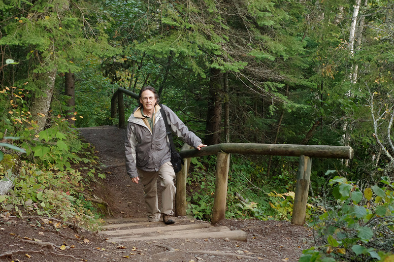 Gary on the hiking trail to the Devil's Kettle in Judge Magney State Park, Minnesota.