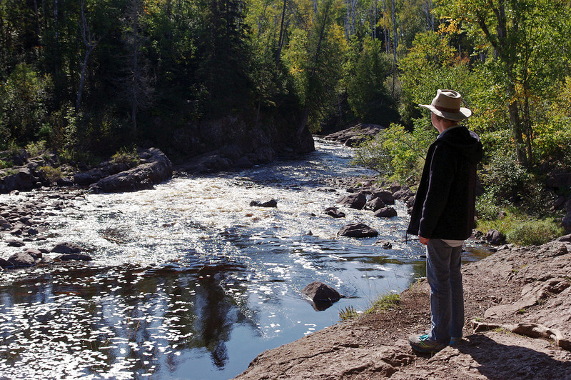 Rita beside the riushing Temperance River; Minnesota.