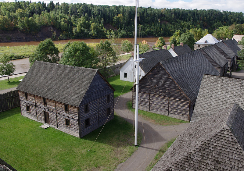 High view of Fort William Historical Park, a re-created North West Company post on the Kaministiquia River in Ontario.