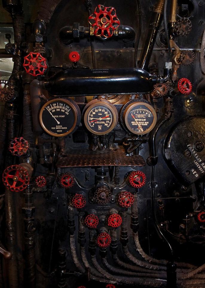 Locomotive engine gauges and valves; Lake Superior Railroad Museum at the Duluth (Minnesota) Union Depot.