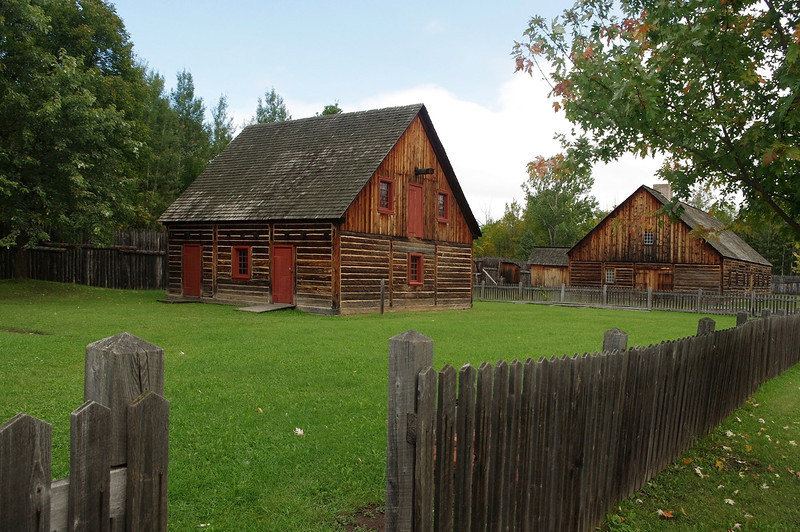Fort William Historical Park, a re-created North West Company post on the Kaministiquia River in Ontario.