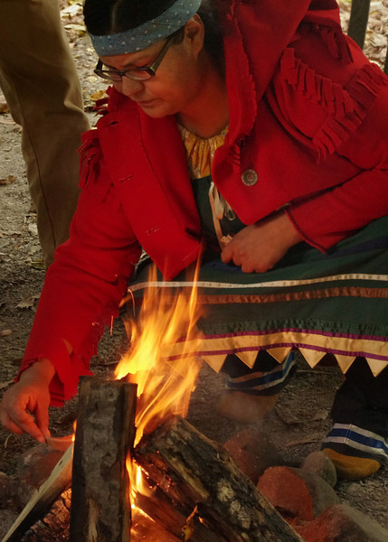 The fire was welcome on a cool Ontario morning at Fort William Historical Park.