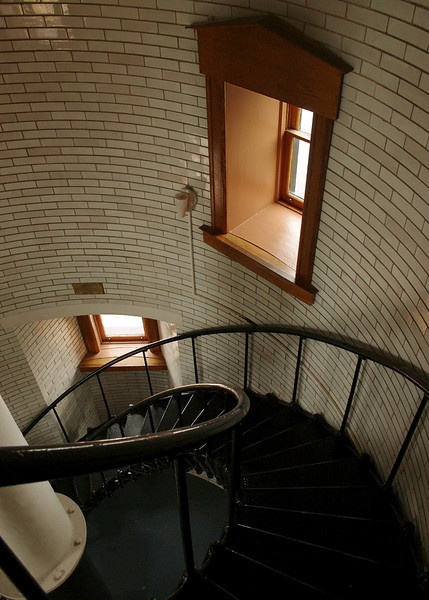 Looking down from the spiral stairs inside Split Rock Lighthouse, Minnesota.