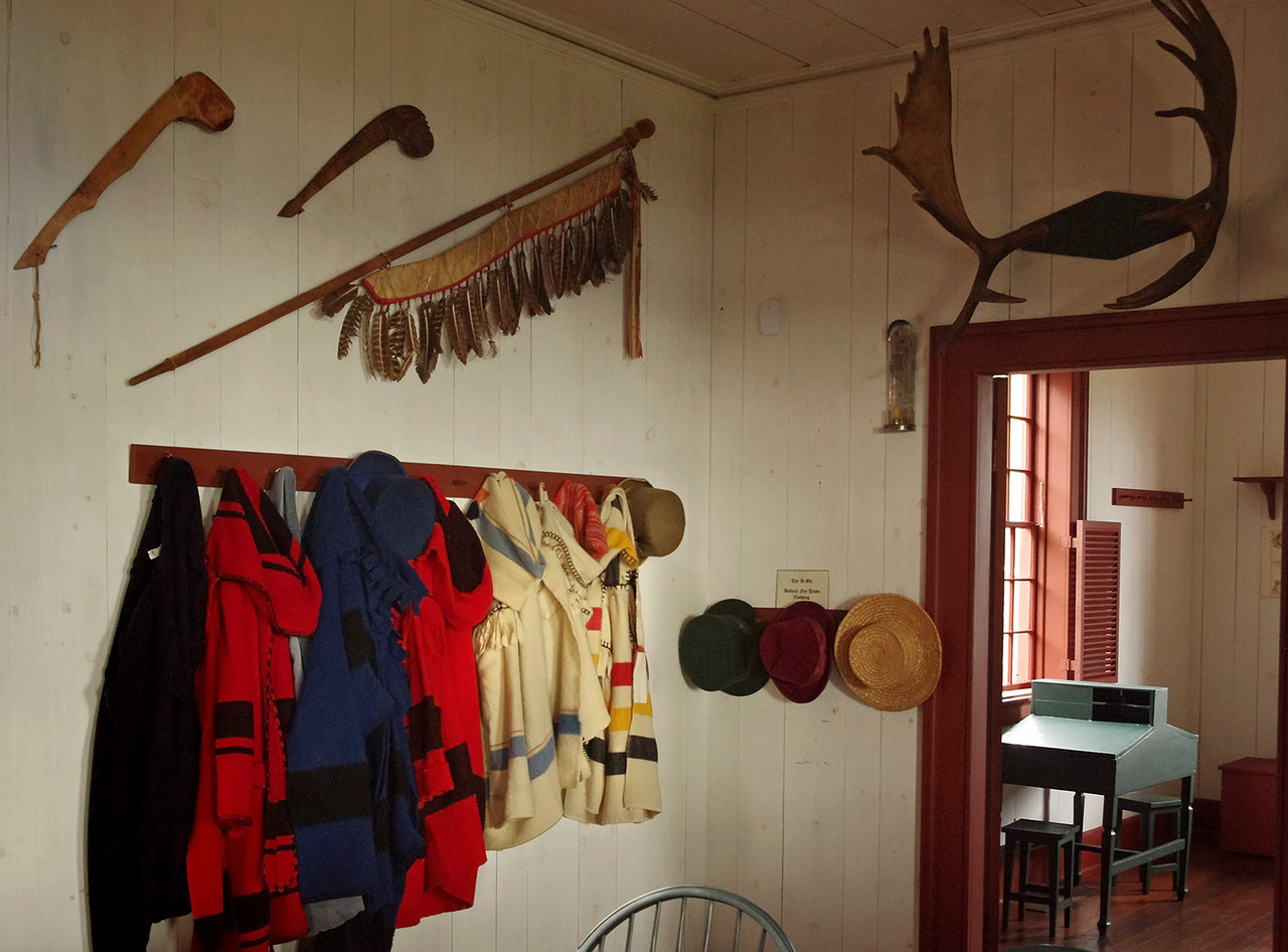 Coat rack and artifacts, Dining room in the Great Hall at Grand Portage National Monument, Minnesota.
