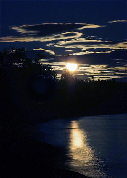 Moon over Lake Superior, Minnesota.