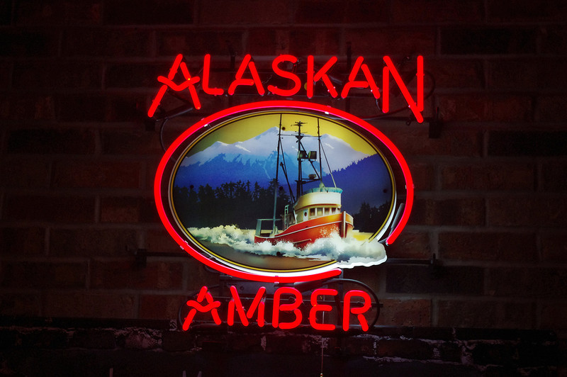 Alaskan Amber neon beer sign. Gunflint Tavern, Grand Marias, Minnesota.